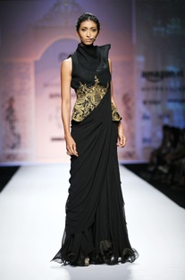 Black ruffled sari gown