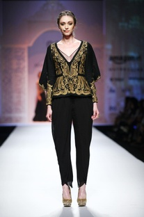 Black embroidered cape jacket