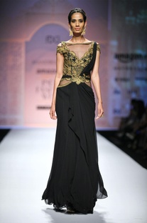 Black & gold embroidered draped sari gown