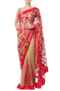 Beige sari with red floral embroidery