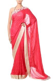 Pink embellished sari with floral threadwork