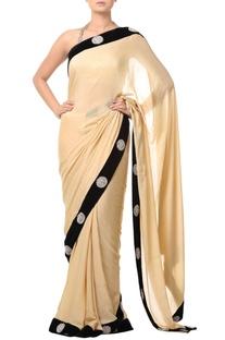 Golden beige embellished sari with black border