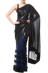 Black & blue sequin embellished sari