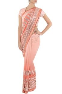 Powder pink & silver embroidered sari