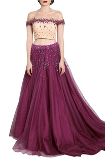 Wine embellished lehenga with nude off-shouldered blouse