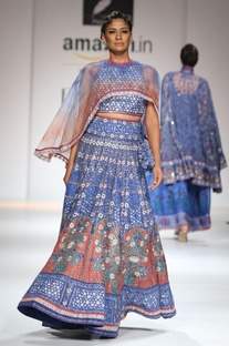 Blue & rust embroidered lehenga with cape set