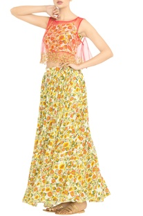 White & yellow printed crop top with skirt & coral throw on
