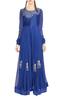 Royal blue embroidered long jacket with skirt