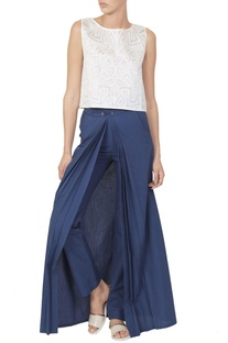 Blue pants with white cutwork top