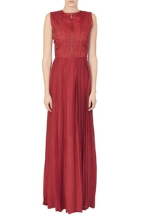 Red silk mul maxi with a cut work embroidered bodice