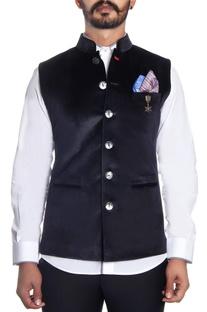 Black velvet embossed nehru jacket