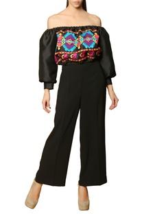 Black embroidered off-shouldered crop top