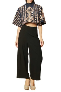 Blue & rust brown embroidered crop top
