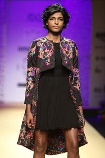 Black multicolored embroidered top