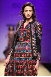 Black multicolored embroidered jacket
