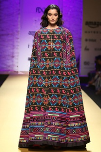 Black kaftan dress with multicolored embroidery
