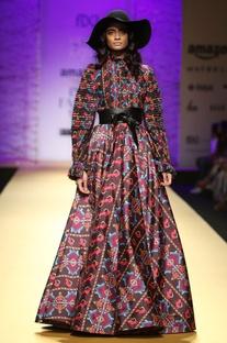 Brown long multicolored printed skirt