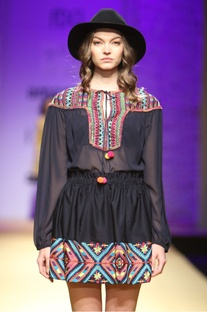 Black multicolored embroidered top