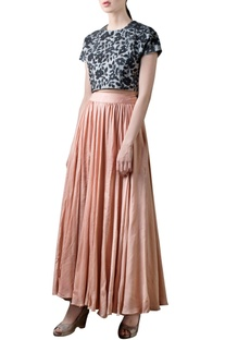 Rose pink long skirt