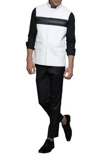 Black & white paneled nehru jacket