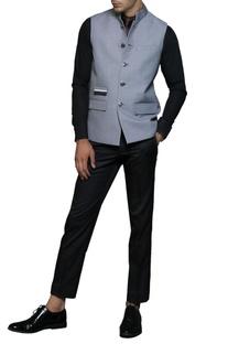 Light grey buttoned nehru jacket