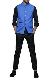 Electric blue safari nehru jacket