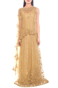 Gold sequin embellished gown with cape