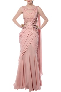 Light pink embroidered sari gown