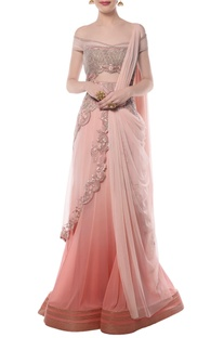 Light pink embroidered off-shouldered sari gown