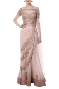 Blush pink embroidered sari gown