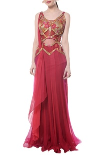 Deep red shaded brocade sari gown