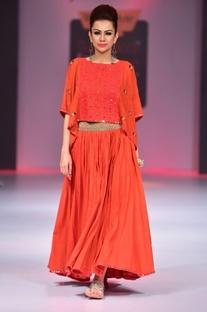 Orange mirror work skirt