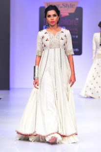 White dress with thread & mirror embroidery