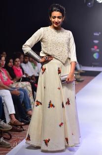 White thread embroidered skirt