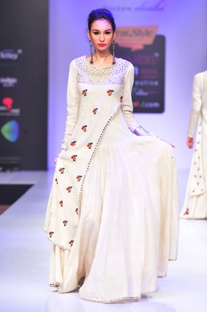 White mirror and thread embroidered dress