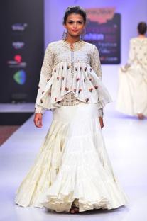 White mirror embellished skirt