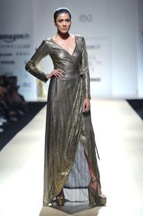 Black & gold wrap dress