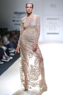 Beige sequins embellished gown