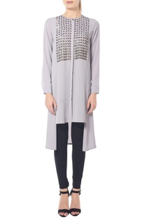 Pastel grey shade tunic with sequins yoke