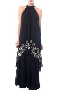 Black halter neck layered gown