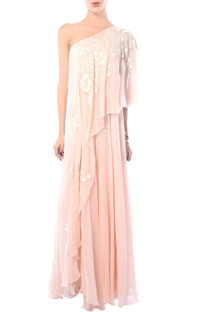Blush pink one shoulder embroidered gown