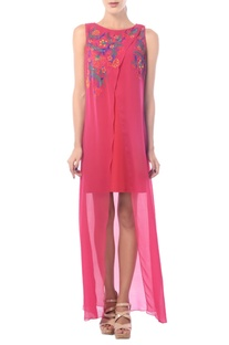 Hot pink high-low embroidered dress