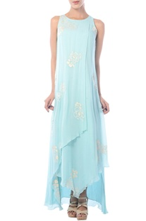 Aqua blue embroidered asymmetric gown