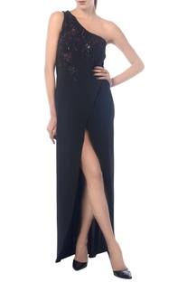 Black one shoulder high slit dress