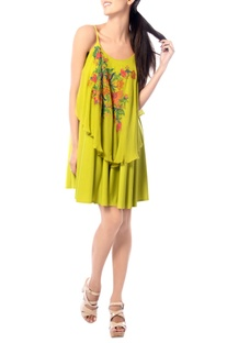 Lime embroidered strap dress