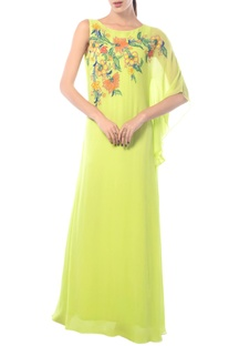 Lime one sleeved embroidered dress