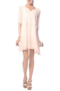 Blush pink embroidered tunic dress