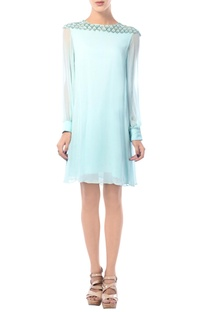 Aqua blue embroidered tunic dress