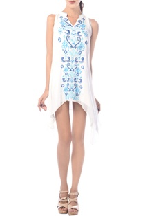 White embroidered asymmetric tunic dress
