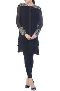 Black aztec embroidered tunic